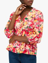 Monsoon Verna Floral Print Blouse, Red