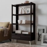 Baxton Studio 2-Drawer Kalien Wood Leaning Bookcase