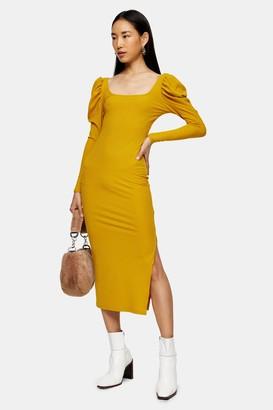 Topshop Womens Mustard Ribbed Puff Sleeve Bodycon Dress - Mustard