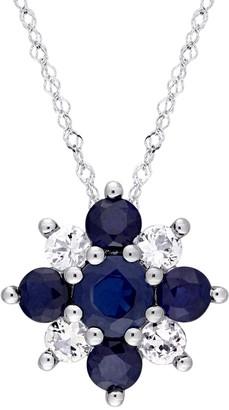 Stella Grace 14k White Gold Blue & White Sapphire Flower Pendant