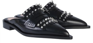 Alexander McQueen Black Leather Studded Mules