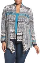 Nic+Zoe Shaded Stripes Linen Blend Cardigan (Plus Size)