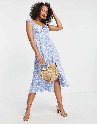 Forever New 90s square neck midi dress in blue ditsy floral