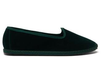 Vibi Venezia - Whipstitched Velvet Slippers - Dark Green