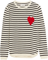 Chinti and Parker Intarsia Striped Cashmere Sweater - Cream