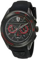 Ferrari Scuderia Men's Quartz Stainless Steel and Silicone Casual Watch, Color:Black (Model: 830344)