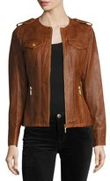 MICHAEL Michael Kors Belted Lambskin Leather Jacket, Cognac