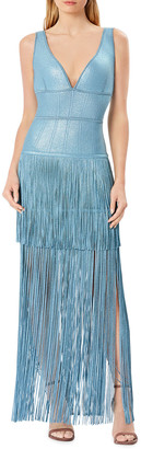 Herve Leger Sleeveless V-Neck Fringe Gown