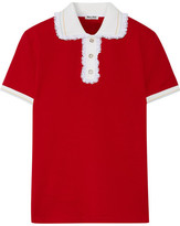 Miu Miu Lace-trimmed Cotton-piqué Polo Shirt - Red