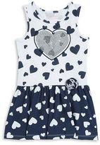 Flapdoodles Girls 2-6x Girls Heart Print Sequined Dress