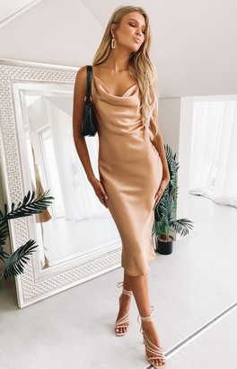 Beginning Boutique Schiffer Slip Midi Dress Champagne