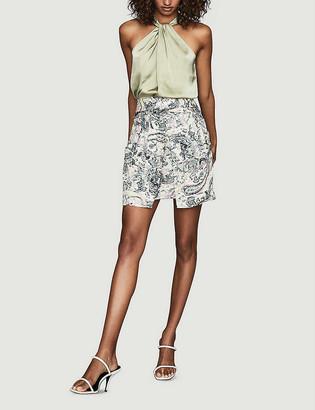Reiss Amy floral-print high-waist mini skirt
