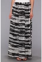 Calvin Klein Printed Pinktuck Polyester Chiffon Maxi Skirt