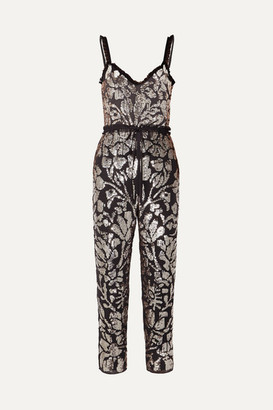 Needle & Thread Tulle-trimmed Sequin-embellished Georgette Jumpsuit - Charcoal