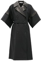 J.W.Anderson Double-breasted Leather-panelled Cotton Coat - Womens - Black
