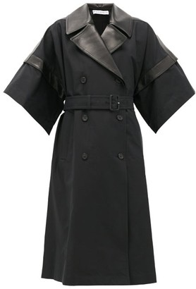 J.W.Anderson Double-breasted Leather-panelled Cotton Coat - Black