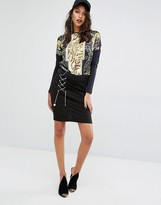 Versace Lace Up Chain Skirt