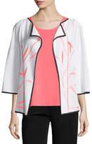Misook Bamboo-Print 3/4-Sleeve Jacket, Petite