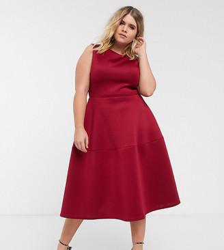 True Violet Plus midi prom dress in burgundy