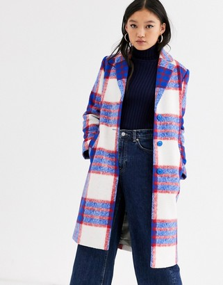 Gianni Feraud check felt tailored coat-Blue