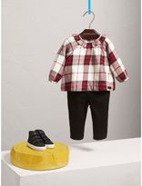 Burberry Ruffle Collar Check Cotton Flannel Top , Size: 18M, Red
