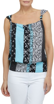 Laundry by Shelli Segal Square Neck Patternblock Top