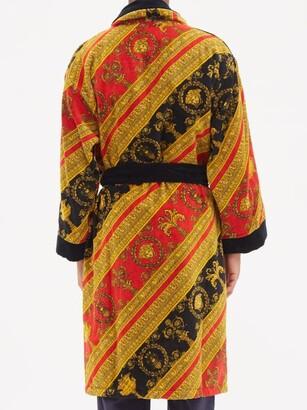 Versace Baroque-print Cotton-velour Bathrobe - Red Gold