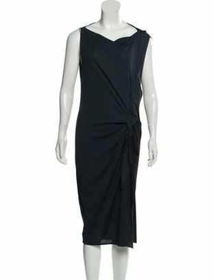 Lanvin Sleeveless Midi Dress Teal