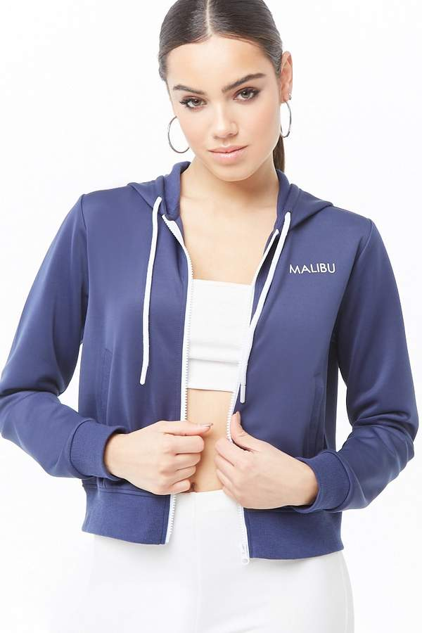 Forever 21 Hooded Malibu Graphic Zip-Front Jacket