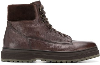 Henderson Baracco Textured Lace Up Ankle Boots