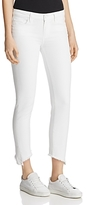 Paige Hoxton Angled-Hem Ankle Peg Jeans in Optic White