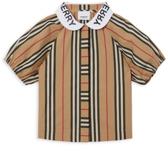 Burberry Little Girl's & Girl's Logo Collar Striped Top