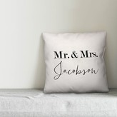 Rollison Mr. and Mrs. Monochromatic Personalized Outdoor Throw Pillow Winston Porter Customize: Yes
