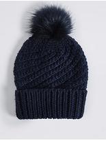M&S Collection Fur Bobble Winter Hat