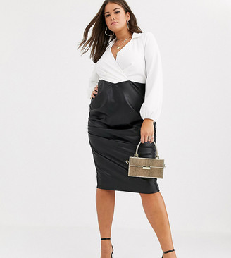 ASOS DESIGN Curve long sleeve shirt pu skirt midi dress