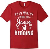 Women's Reader t-shirt, Teacher Gift This Girl Runs On Jesus Reading Medium