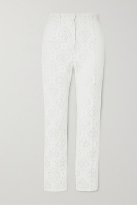 Alexander McQueen Cotton-blend Guipure Lace Tapered Pants - White