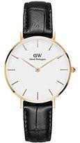 Daniel Wellington 'Classic Petite' Quartz Gold and Leather Casual Watch, Color:Black (Model: DW00100173)