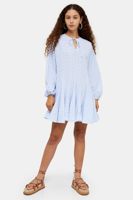 Glamorous Womens **Blue And White Gingham Tunic Dress By Blue