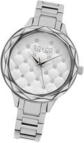 SO & CO Ny Women'S Faceted Crystal Quilted With Scattered Crystals Silver Tone Link Bracelet Dress Quartz Watch J160P78