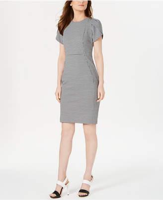 Calvin Klein Houndstooth Tulip-Sleeve Dress