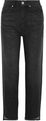 Sandro Theatre Frayed High-rise Straight-leg Jeans