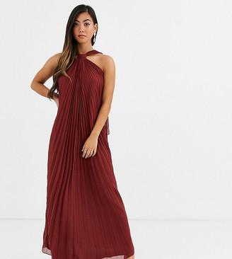 Asos DESIGN Petite halter trapeze maxi dress in pleat-Red