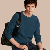 Burberry Waffle Knit Cashmere Sweater, Blue