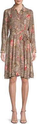 Nanette Nanette Lepore Floral-Print Pintuck Shirtdress