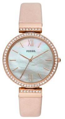 Fossil Madeline Three-Hand Blush Leather Watch, ES4537