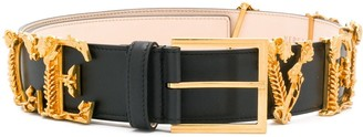 Versace Lettering Logo Applique Belt
