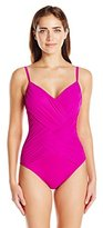 Gottex Women's Lattice V Neck One Piece Swimsuit