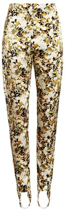 Silvia Tcherassi Fresia Floral Stirrup Stretch-Silk Leggings