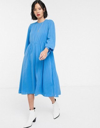 Selected Rylee long sleeve stripe midi dress